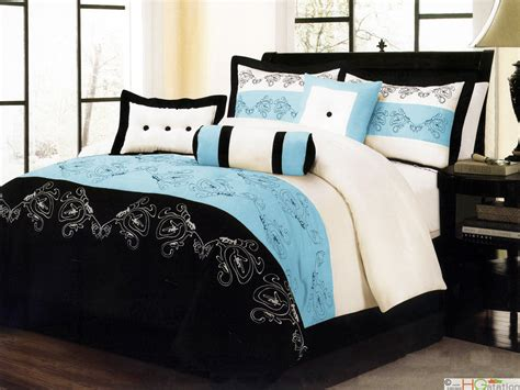 black and blue comforter sets 7 pc paisley floral embroidery microfiber comforter set