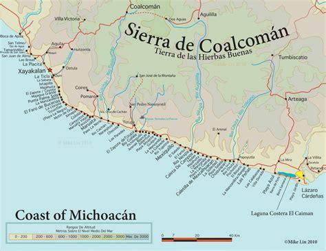 michoacan map panoramio photo of michoacan coast map