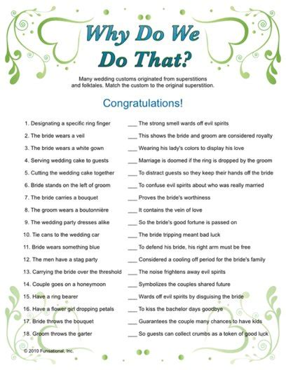 free printable bridal shower games and answers quot why do we do that quot wedding traditions game bridal