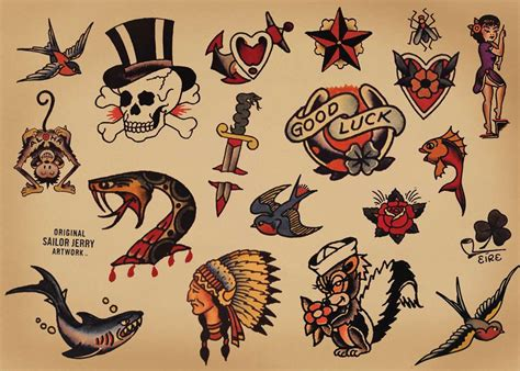 old school traditional tattoos sailor jerry flash on