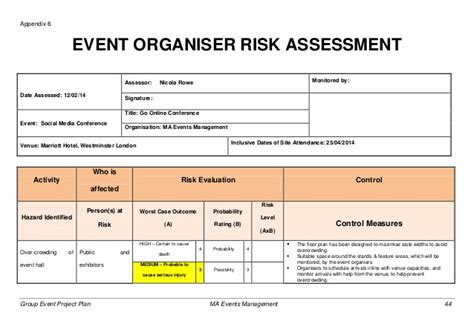 event risk management template event project plan