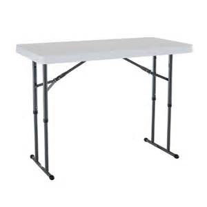 Height Adjustable Folding Table Lifetime 80160 4 Foot Commercial Adjustable Height Folding Table White Granite Ebay