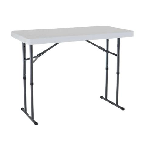 Folding Table Adjustable Height Lifetime 80160 4 Foot Commercial Adjustable Height Folding Table White Granite Ebay