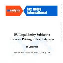 Transfer Pricing Mba Notes by Tax Notes International