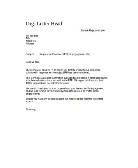 Rejection Letter Template For Rfp Sle Rejection Letter 6 Exles In Word Pdf