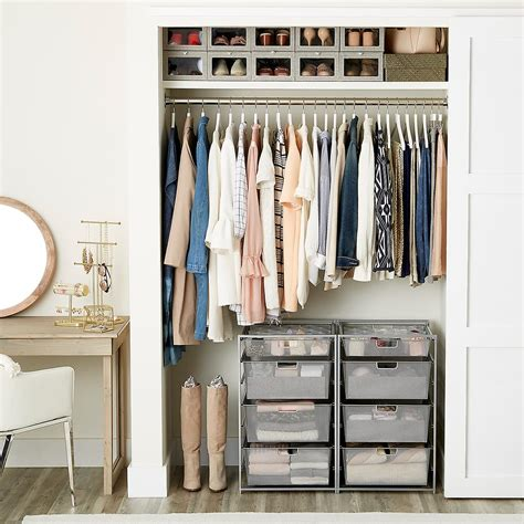 s small closet with drawers the container store