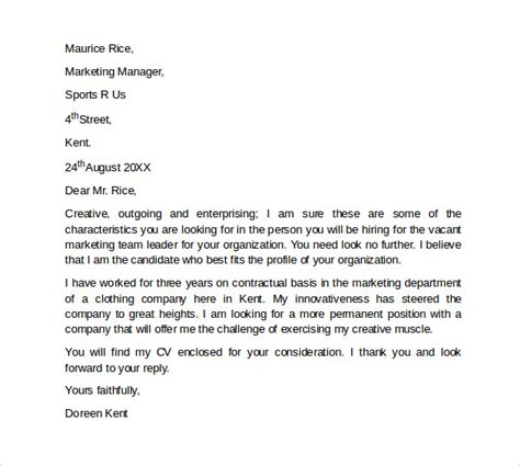 cover letter marketing sle marketing cover letter template 9 free