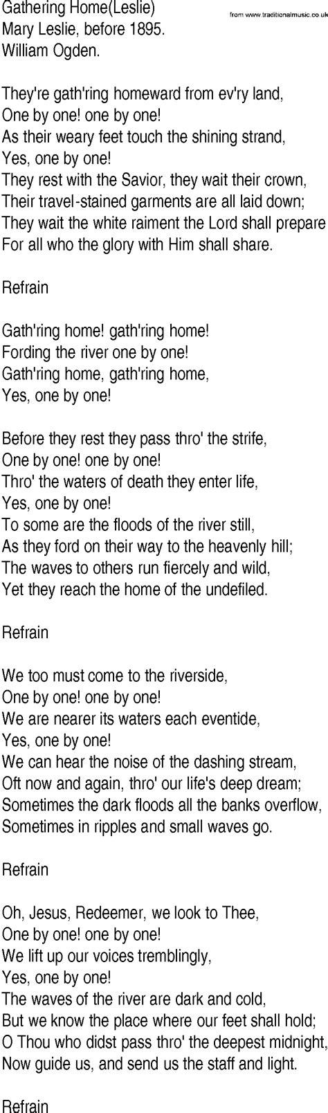 lyrics leslie hymn and gospel song lyrics for gathering home leslie by