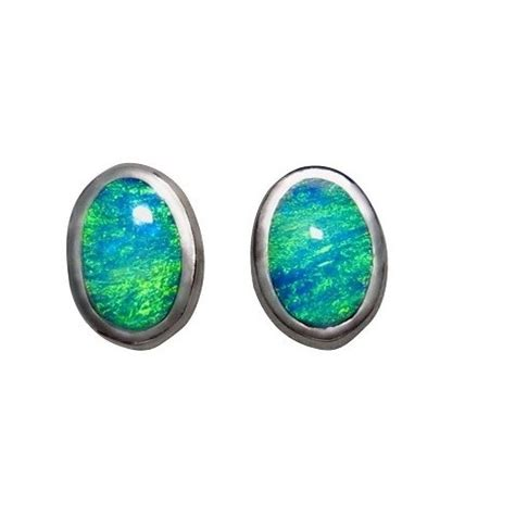 925 blue opal oval stud earrings opal oval opal earrings silver studs oval aqua green blue stones