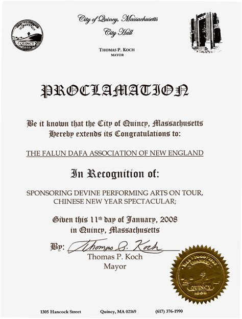 new year proclamation massachusetts city of quincy issues proclamation