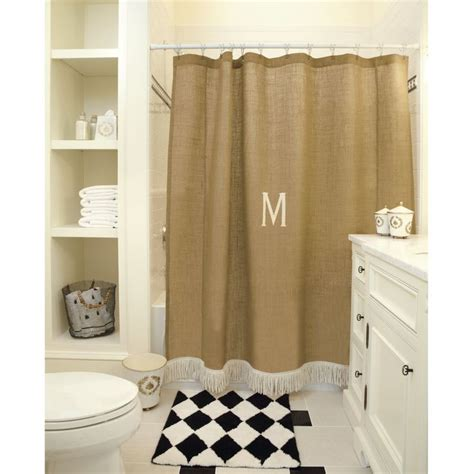 Burlap Shower Curtain With Bullion Fringe burlap shower curtain with bullion fringe