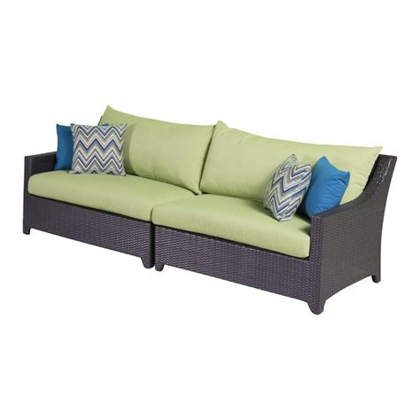 shop rst brands deco solid cushion wicker sofa at lowes