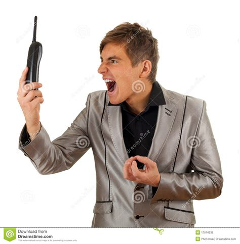 Screaming Phone screaming with phone royalty free stock image