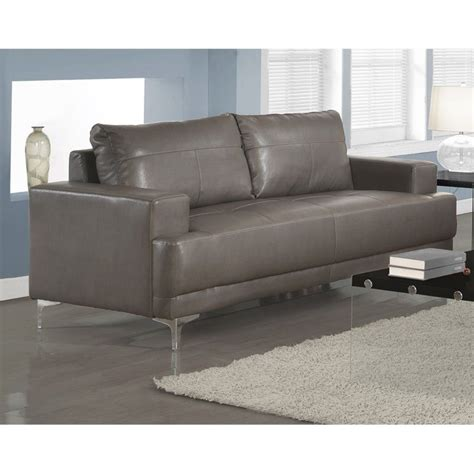 Leather Sofa In Charcoal Gray I8603gy Charcoal Grey Leather Sofa