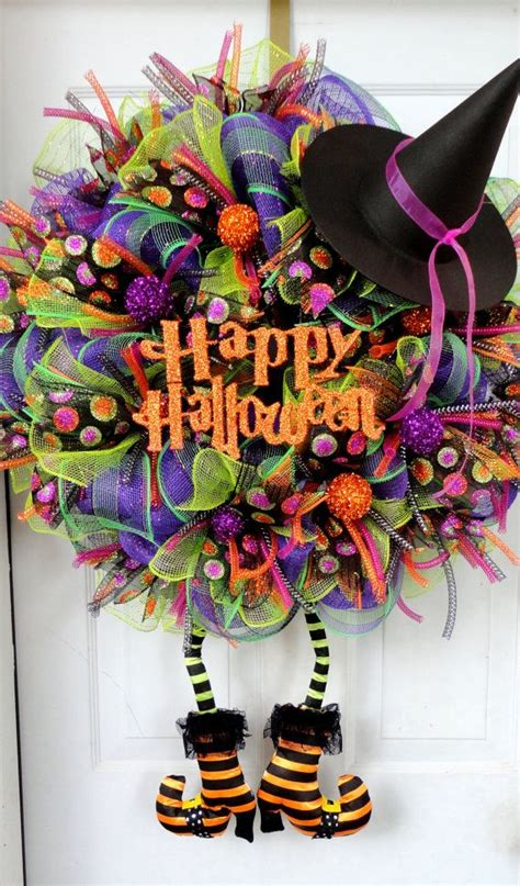 halloween wreath huge with boots wicked witch wreath pre order halloween