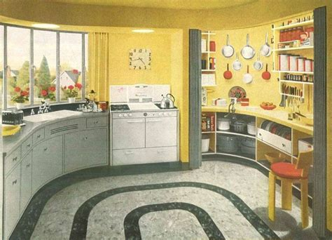 1940s Kitchen Design 1940s Interior Design A Yellow And White Kitchen With Accents 1940 S Style