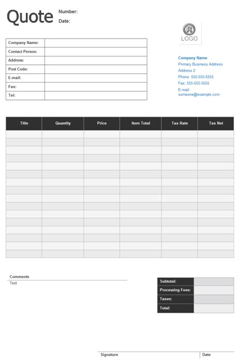 free quote form template price quote form free price quote form templates