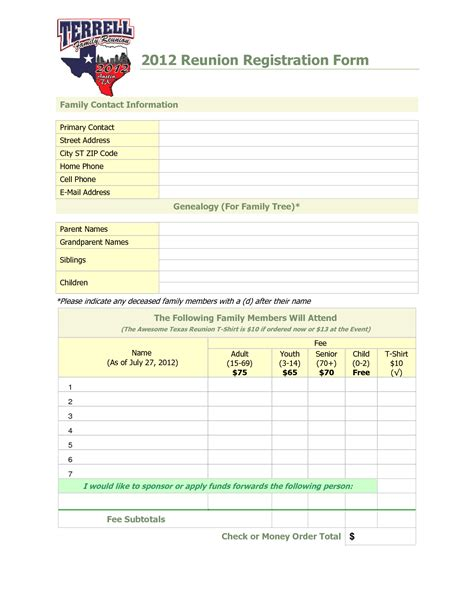 family reunion registration template google search