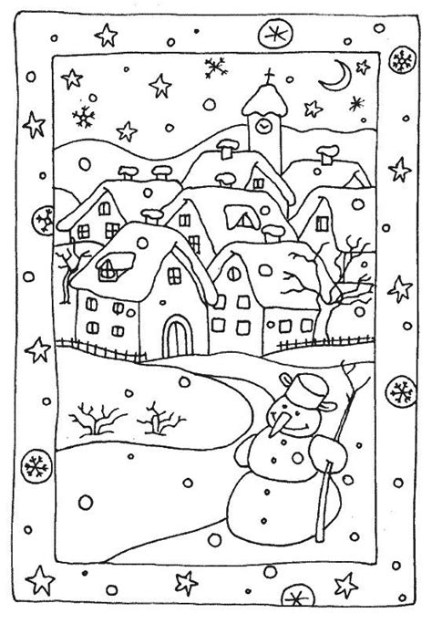 snow landscape coloring page il neige szablony pinterest coloration neige et