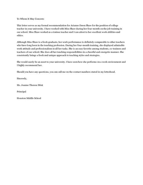 college recommendation letter template best photos of college reference letter exles college