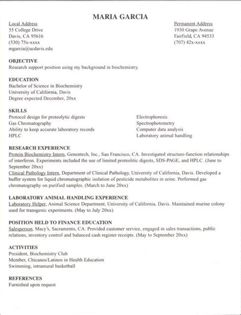 intern resume template how to write resume for internship recentresumes