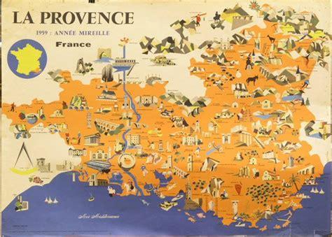 provence france map free printable maps 2424 vintage poster provence france map lot 2424