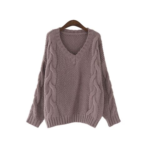 v neck jumper pattern knitting aliexpress com buy oversize cable knit pullover sweater