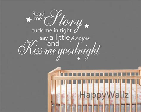 Nursery Wall Sticker Quotes kiss me goodnight quote quote wall sticker baby