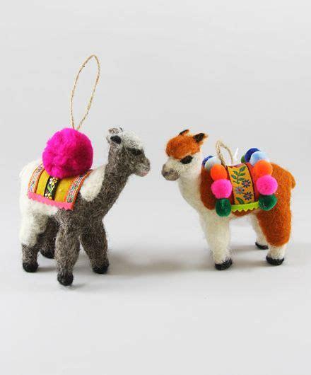 set of 2 felted llama christmas ornaments dream board