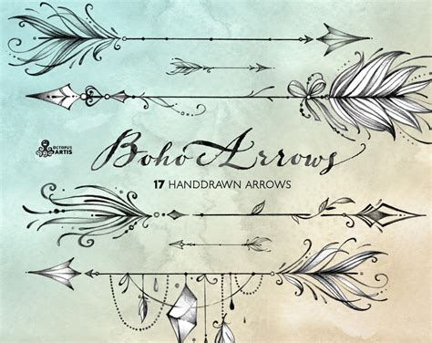 boho arrows 17 hand drawn clipart tribal native diy