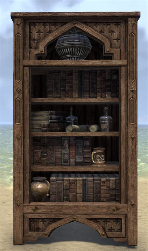 eso fashion redguard bookcase full elder scrolls