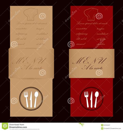 Browns Restaurant Gift Card - red and brown menu cards for restaurant royalty free stock photography image 28166407