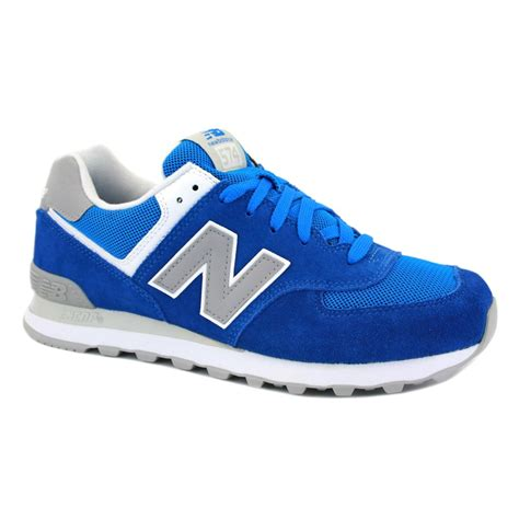 New Balance 574 Grey Blue new balance 574 ml574vcw mens laced suede mesh trainers