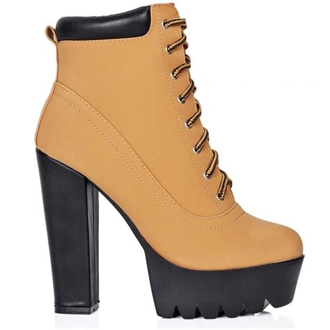 buy rugged block heel cleated sole platform ankle boots