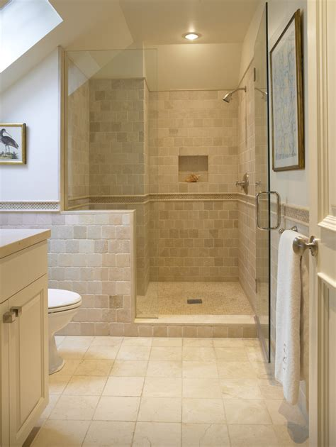 Tumbled Travertine Tile Bathroom Traditional With Band Bathroom Tiles For Shower