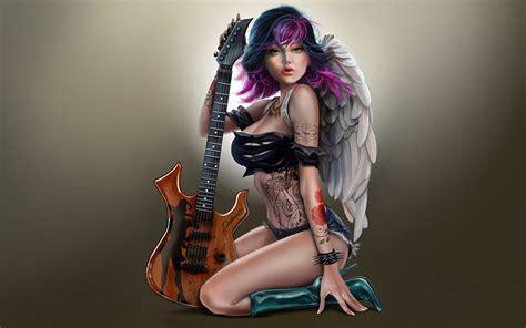 fantasy tattoo girl wallpaper wallpapers tattoos guitar girls fantasy angels