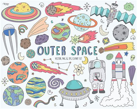 libro doodles in outer space space clipart cute space doodles clip art set vector png