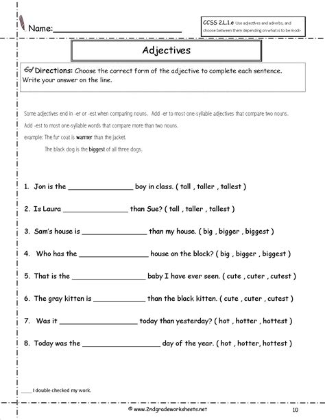 Adjective Worksheets 4th Grade by Free Using Adjectives And Adverbs Worksheets