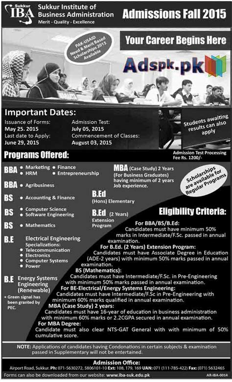 Sponsored Mba Programs by Admissions Open 2015 In Iba Sukkur For Bba Bs B E Mba B