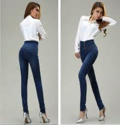 2015 fashion women high waist jeans women single