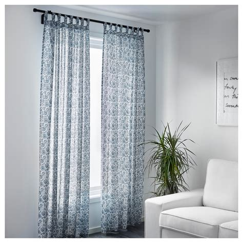 Ikea White Curtains Inspiration Mj 214 Lk 214 Rt Curtains 1 Pair Blue White 145x300 Cm Ikea