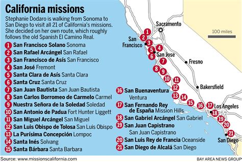 california missions map on a mission all own she s walking california s royal road mercury news