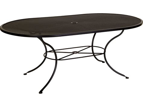 Iron Patio Tables Ow Mesh Wrought Iron 72 X 42 Oval Dining Table With Umbrella 4272 Ovmu