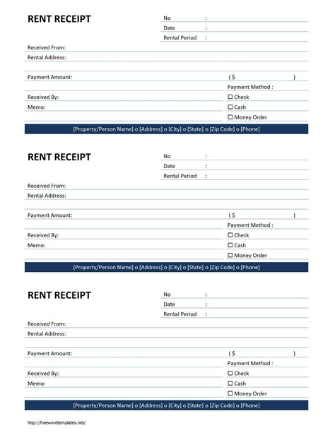 rental receipts template rent receipt template