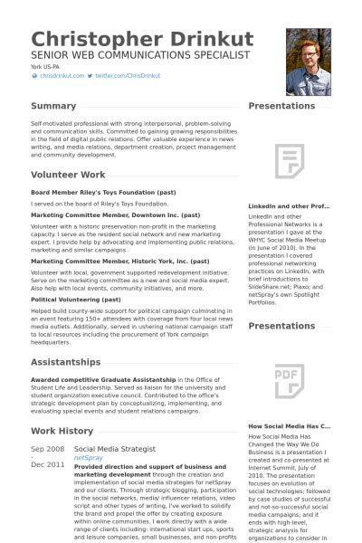 social media strategist resume sles visualcv resume