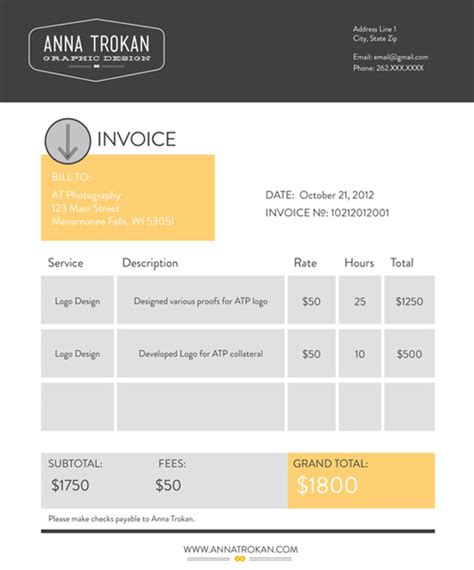 Cool Graphic Design Invoice Template Design From Anna Trokan With Service And Description And Cool Invoice Template Free
