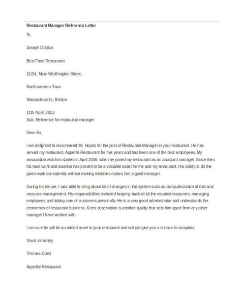 Reference Letter Manager recommendation letter for manager letters free sle