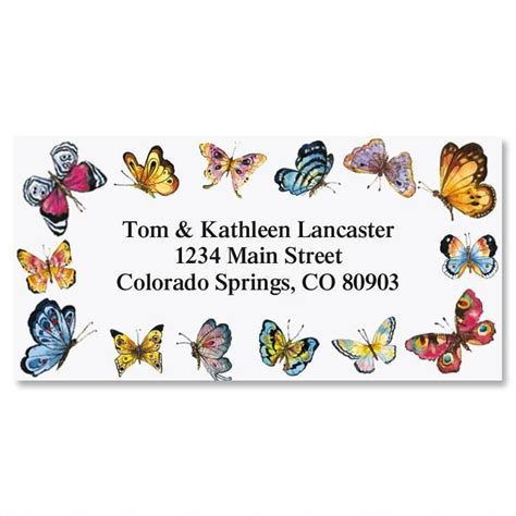 butterflies designer rolled return address labels butterfly border return address labels colorful images