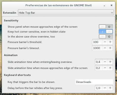 Hide Top Bar hide top bar y simple dock extensiones para gnome shell