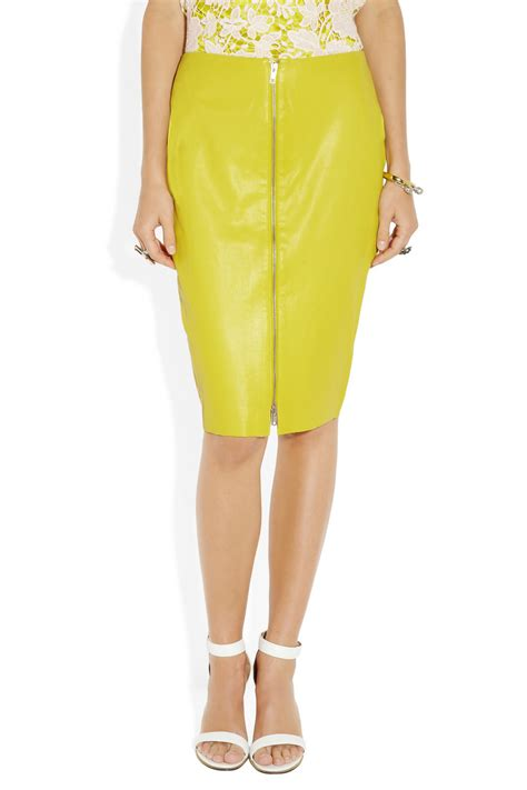 yellow pattern pencil skirt lyst by malene birger eldiuna leather pencil skirt in yellow